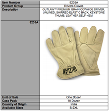 Load image into Gallery viewer, Outlaw Premium Grain Driver Gloves