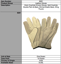 Load image into Gallery viewer, Grain Split Driver Double Palm Gloves