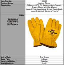 Load image into Gallery viewer, Oil Demon GT Premium Grain Goatskin Yellow Gloves