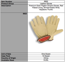 Load image into Gallery viewer, Premium Grain Pigskin Driver Red Fleece Gloves