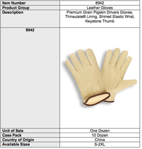 Premium Grain Pigskin Thinsulate Gloves