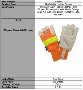 Premium Hi-Viz Pigskin Leather Palm Extended Knit Wrist Gloves