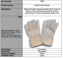 Load image into Gallery viewer, Slit Cowhide Foam & Fleece Lining Leather Palm Gloves