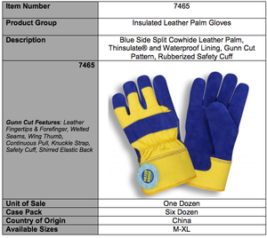 Split Cowhide Leather Blue And Yellow Gloves