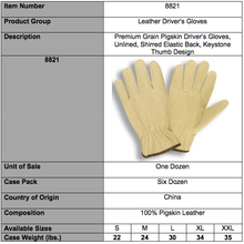 Load image into Gallery viewer, Premium Grain Pigskin Driver Gloves