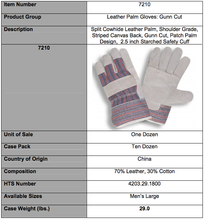 Load image into Gallery viewer, Economy Split Starched Cuff Gloves