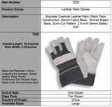 Economy Split Denim Cuff Gray Gloves