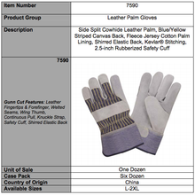 Load image into Gallery viewer, Side Split Leather Palm Striped Canvas Gloves