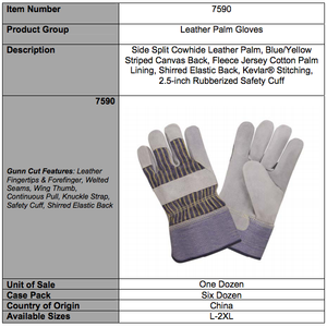 Side Split Leather Palm Striped Canvas Gloves