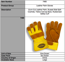 Load image into Gallery viewer, Russet Leather Side Split Rubberized Cuff Gloves