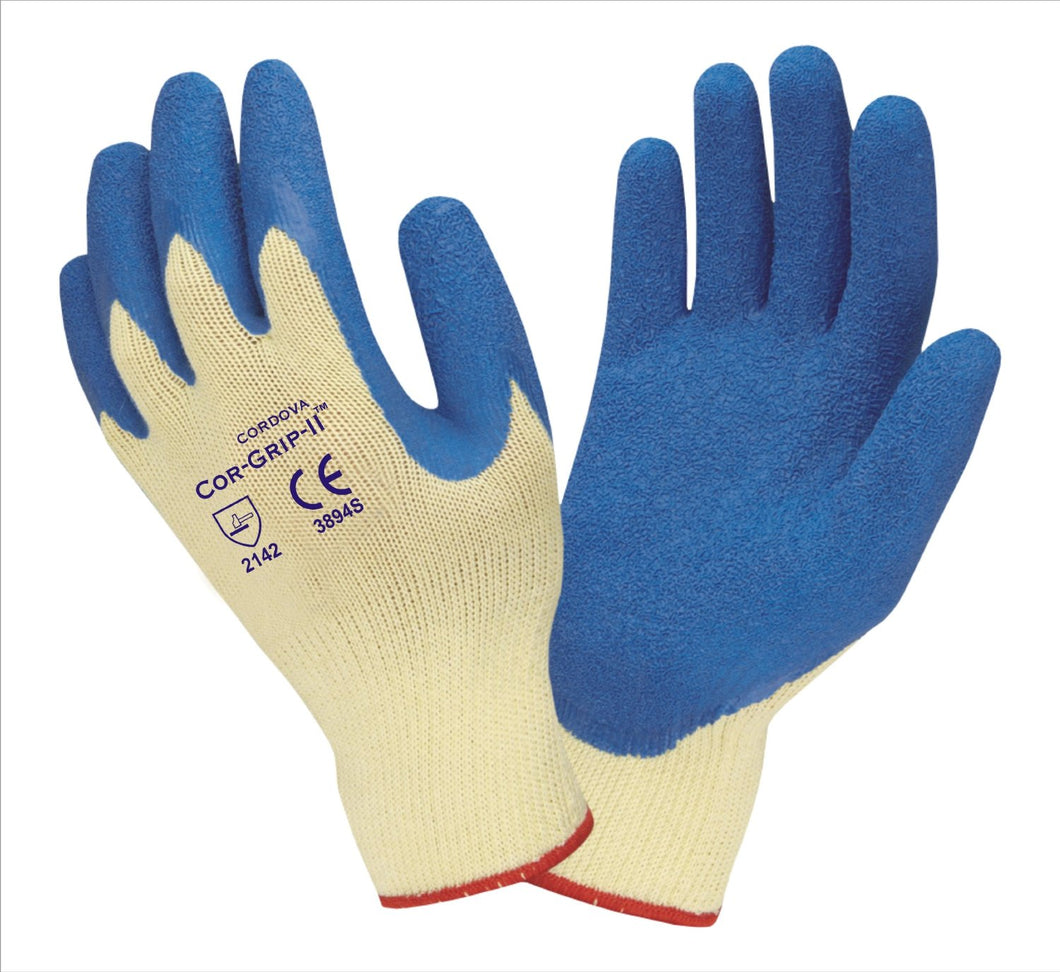 Blue Latex Palm Coated Machine Knit Gloves