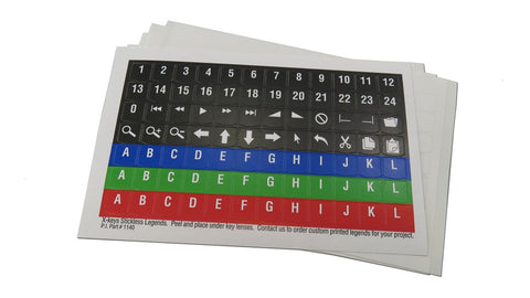 Stickless Printed Legend Sheets for single keys X-keys (Pack of 5)