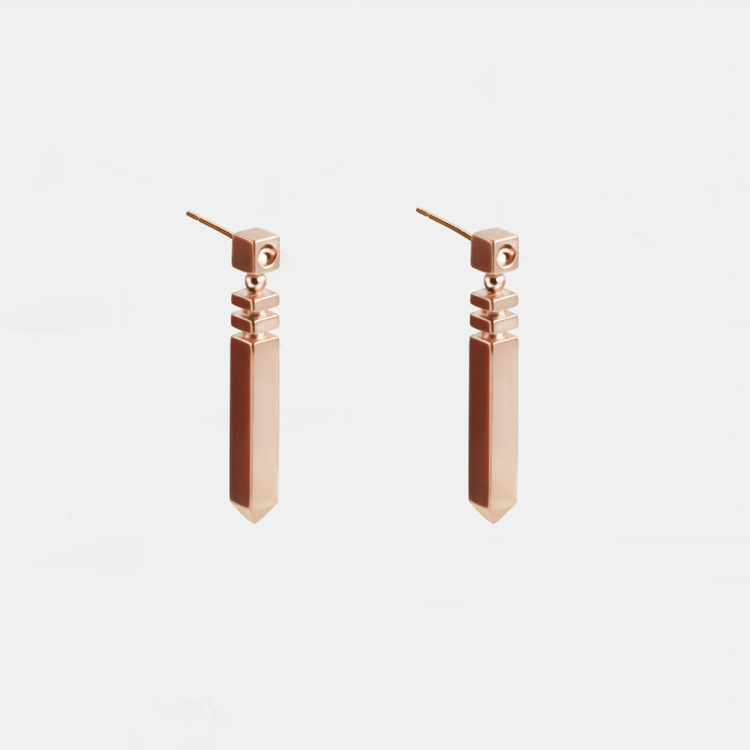 18K Rose Gold-Plated Silver Stripe Column Earrings