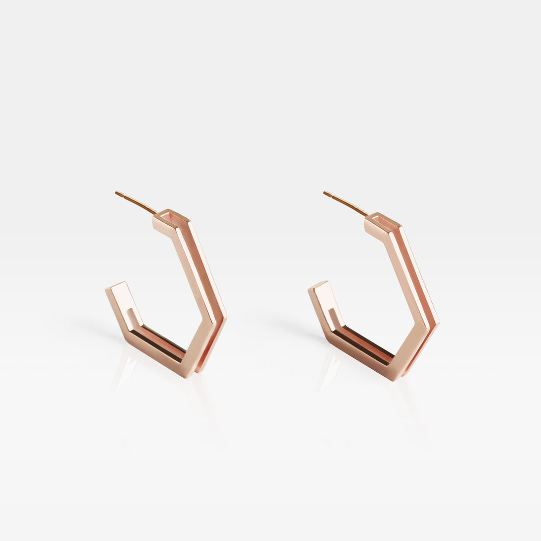 18K Rose Gold-plated Silver Hexagon Double Band Hoop Earrings