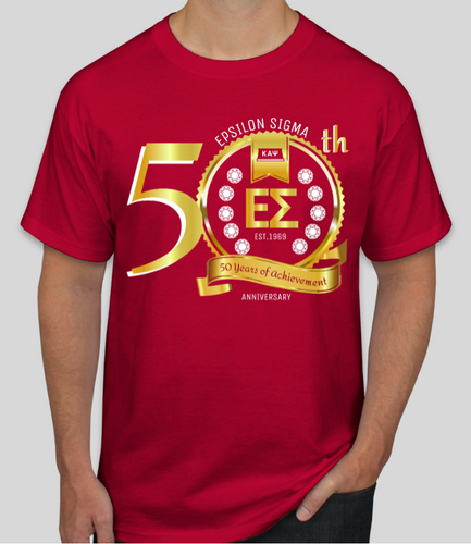 50th Anniversary - Epsilon Sigma T-Shirt - RED & GOLD