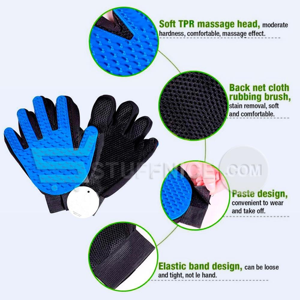 Pet De-Shedding Grooming Massage Glove Brush