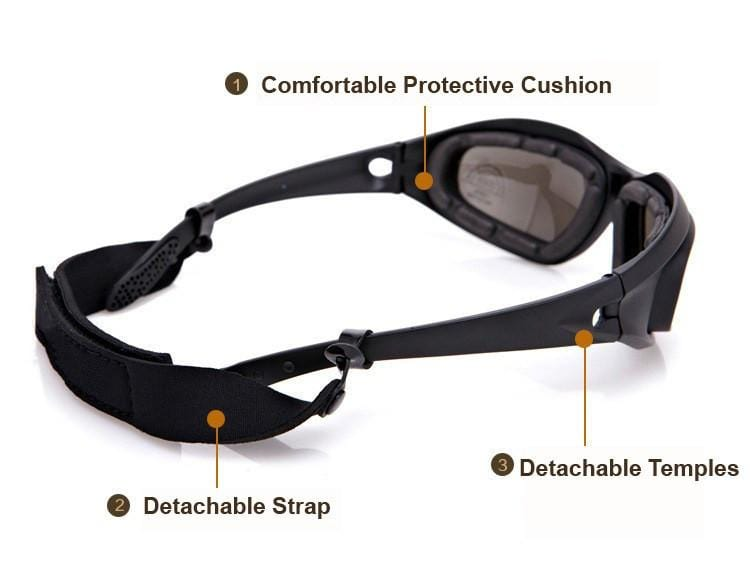 POLARIZED ARMY GOGGLES WITH 4 LENS KIT😎