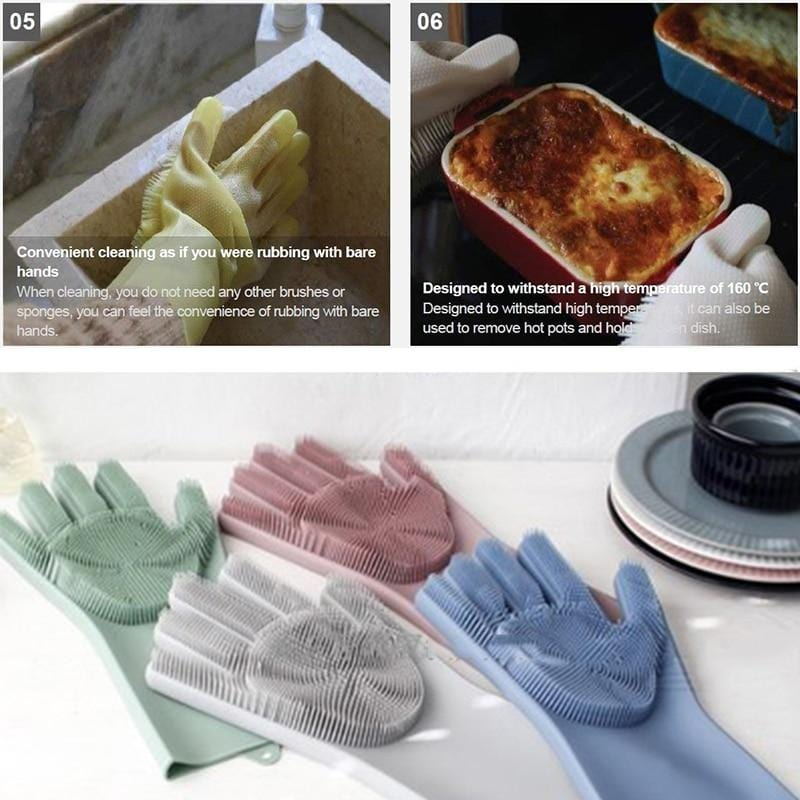 Multipurpose Silicone Scrubber Gloves