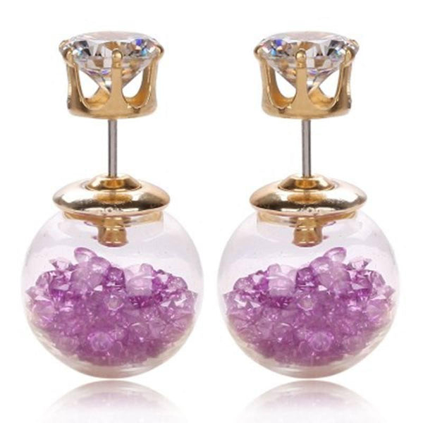 Double Sided Glass Crystal Earrings