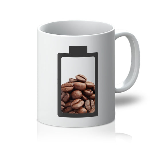 Funny Logo Mug - Powered By Coffee - White Front View