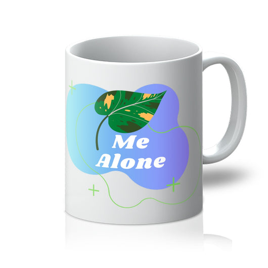 Funny Pun Mug - Leaf Me Alone - White Front View