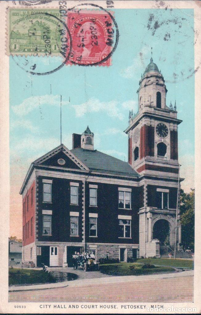 city hall and court house. petoskey. michigan. chicaho century progress. r.e.c.p. 22022 a