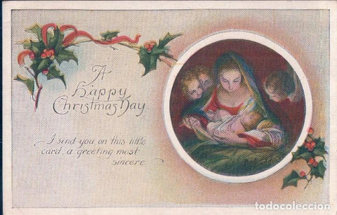 postal a happy christmas day.feliz navidad. virgen maria