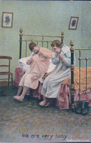 bamforth romantic couple playing in bed we are very busy . 1908. postal niños locos. circulada