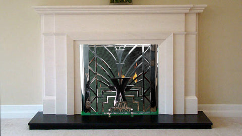 Art Deco freestanding stainless steel firescreen on sale