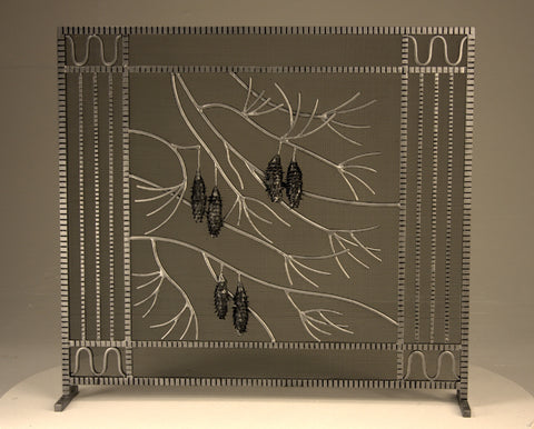 Freestanding Edgar Brandt Pinecone  Fireplace Screen