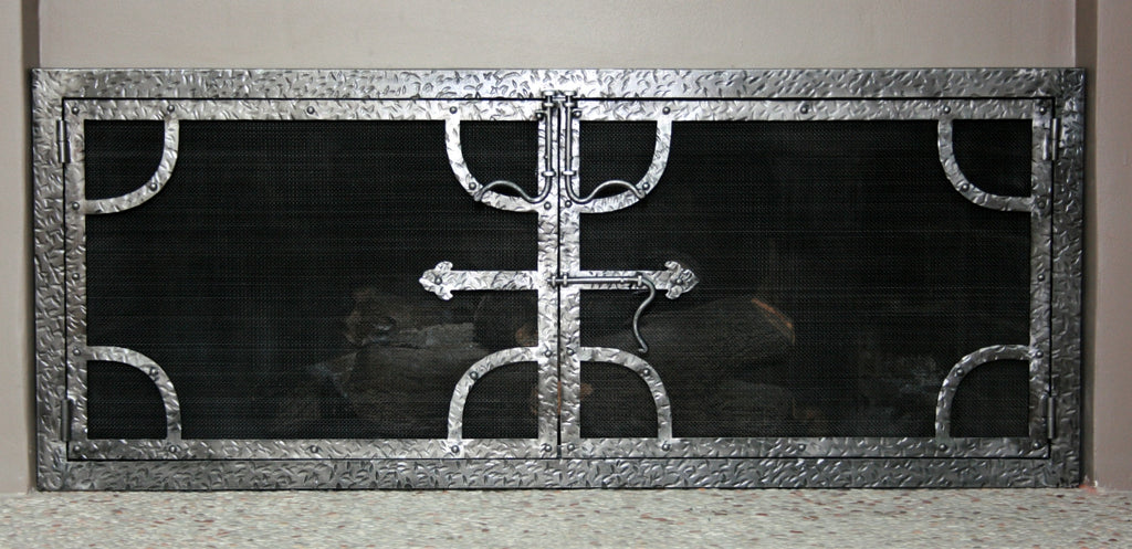 Hammered Fireplace Screen Door