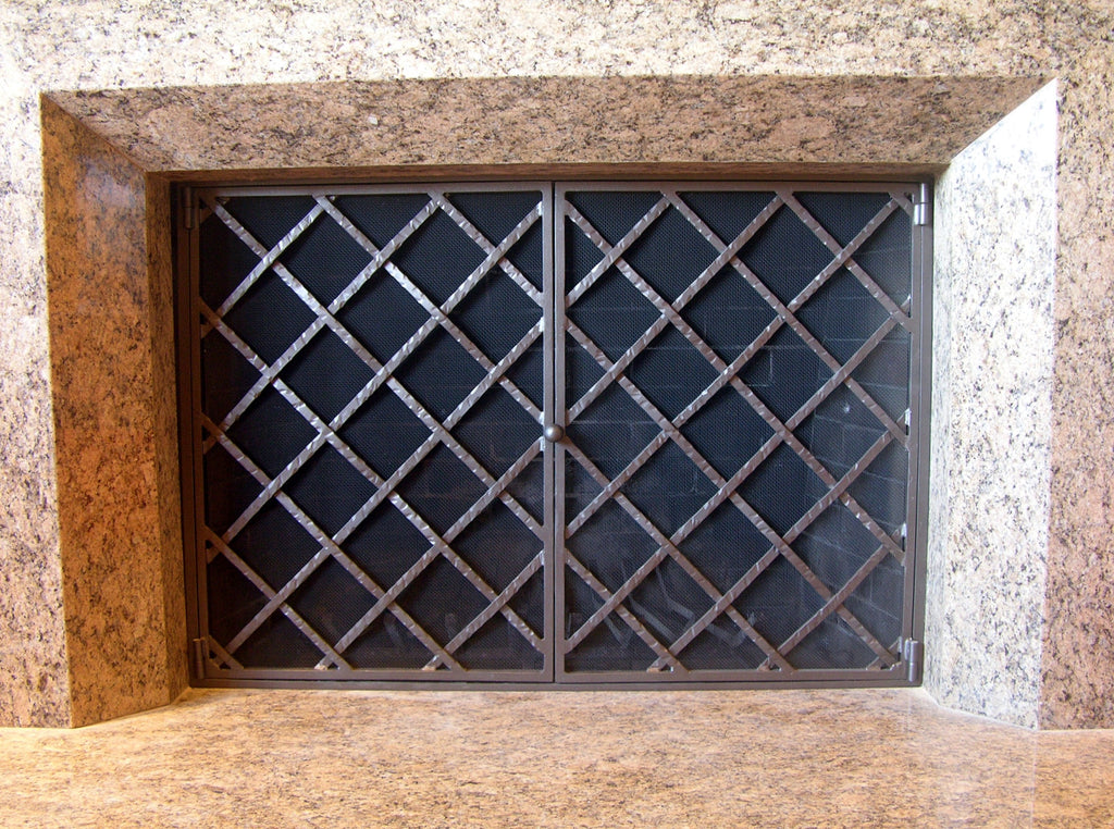 Lattice Fireplace Screen Door