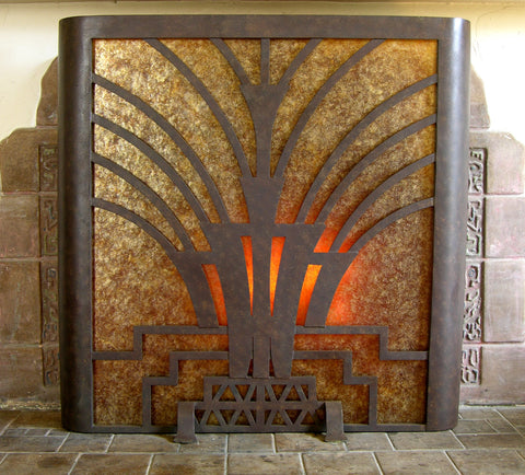 Art Deco Firescreen with Mica