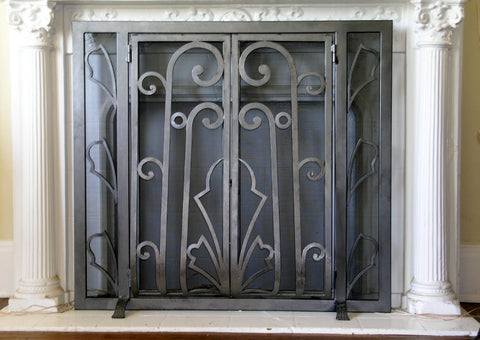 Floral Deco Fireplace Screen Door