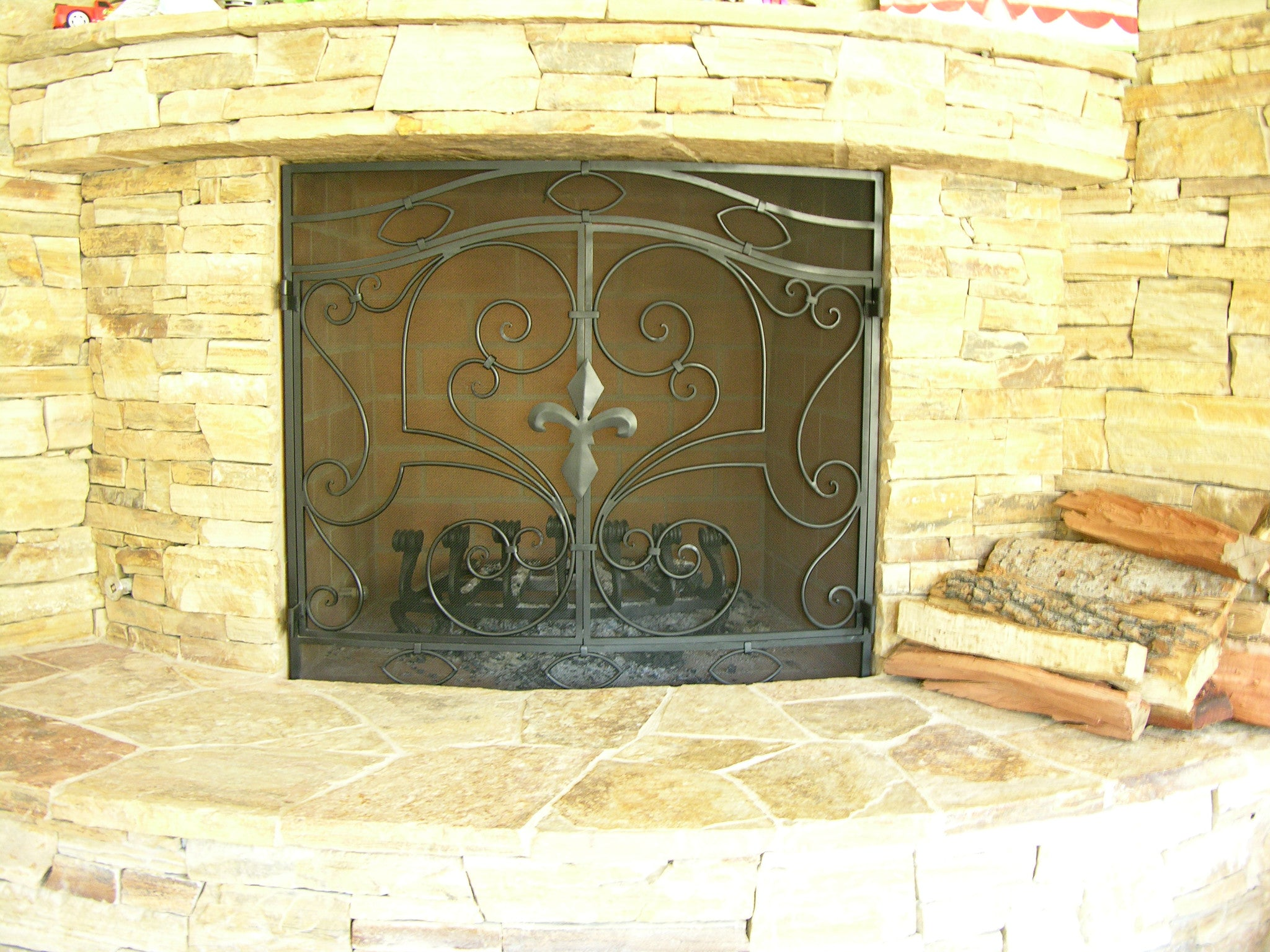 Fleur De Lys Fireplace Screen Door