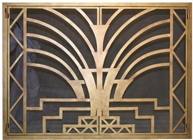 Art Deco firescreen doors ... & Burnished Art Deco Fireplace Screen Doors u2013 ironforge.com