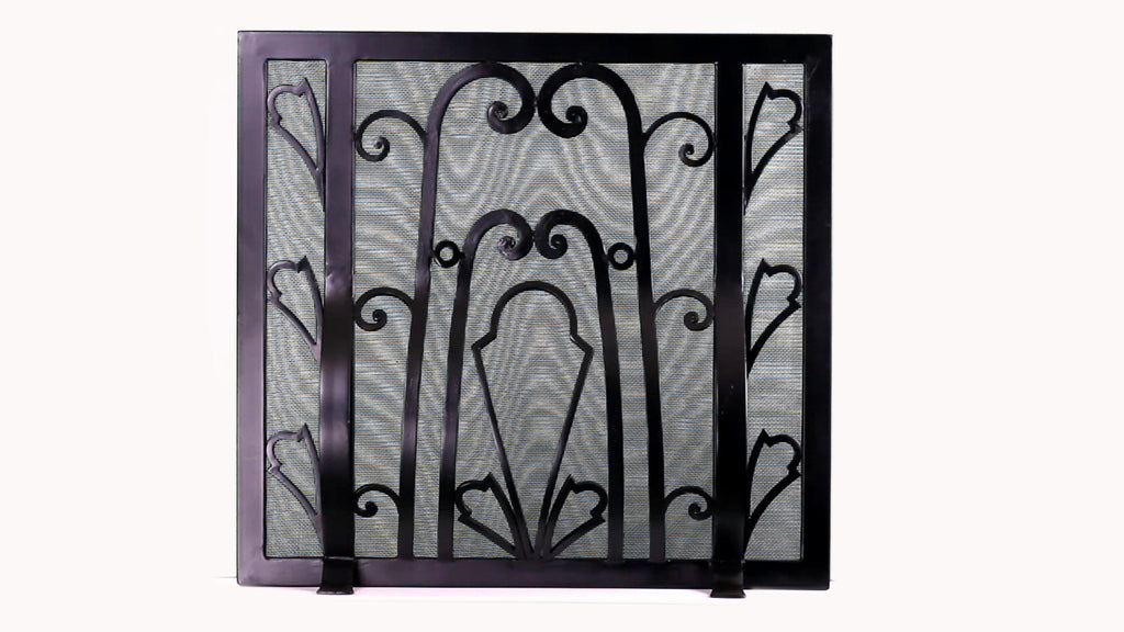 Freestanding Floral Deco Fireplace Screen