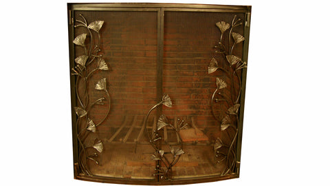 Gingko Leaf Fireplace Screen Door