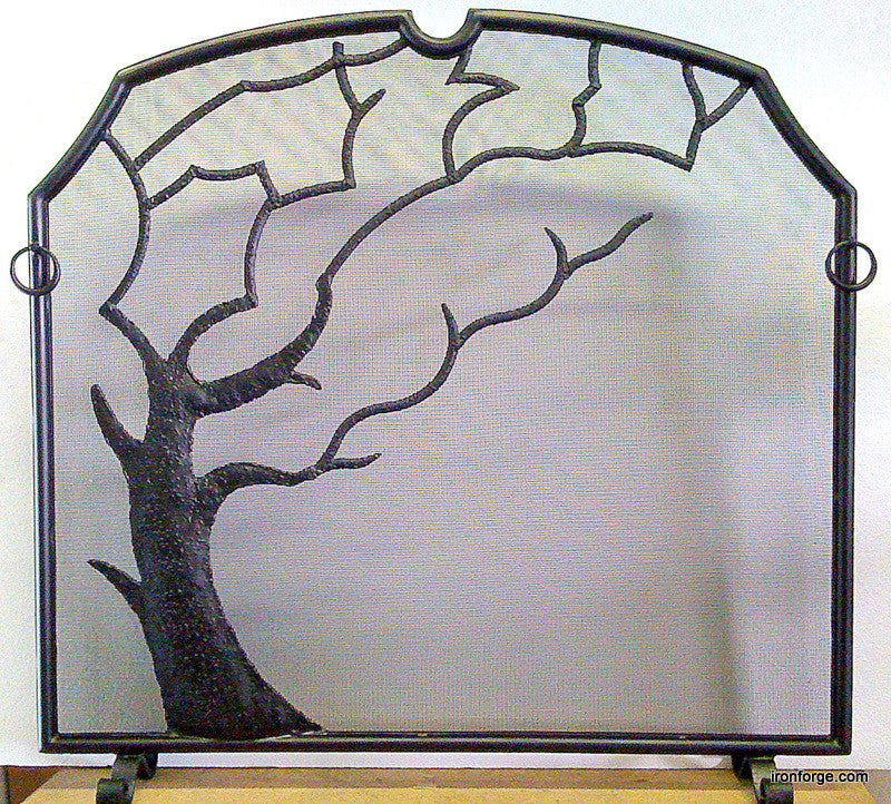 Tree design hand forged nature inspired firescreen, firescreen doors