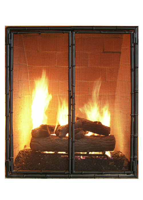 Bamboo Fireplace Screen Door