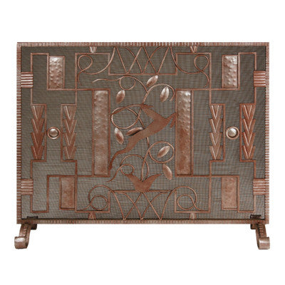 Hand forged art deco gazelle firescreen