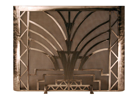 Burnished Art Deco Freestanding Fireplace Screen