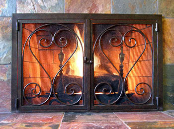 Castle Two-Door Fireplace Screen Door