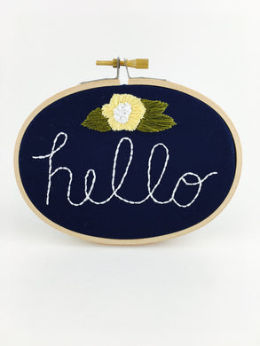 hello embroidery wall art