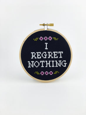i regret nothing embroidery wall art