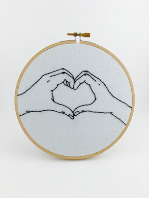 heart hands embroidery wall art