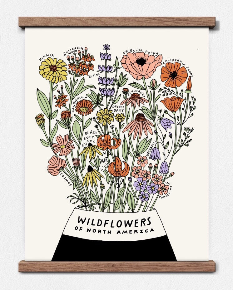 wildflowers of north america screen print