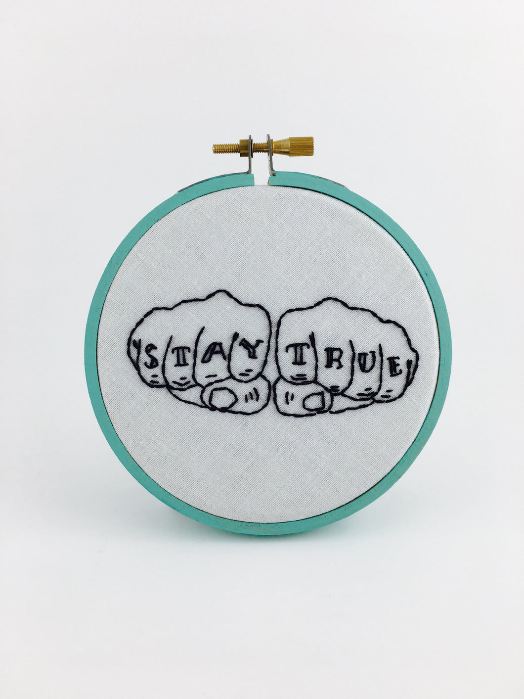 stay true embroidery wall art