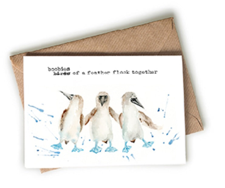 "penguin ""boobies of a feather"" greeting card"