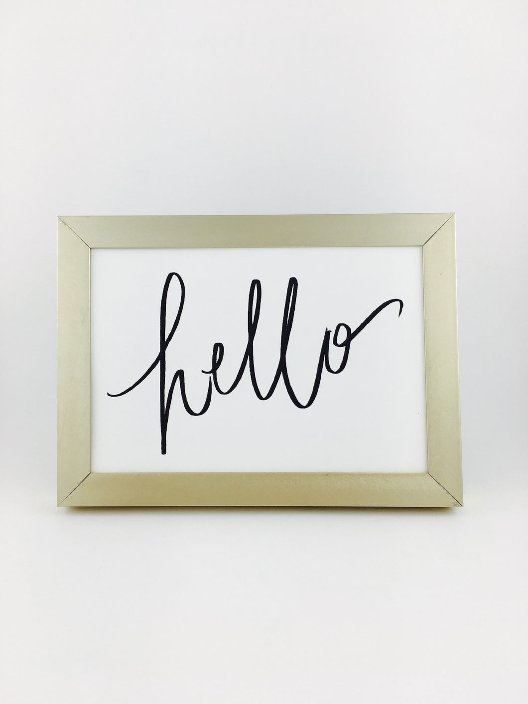 framed hello calligraphy print